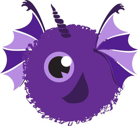 eyed: What a scary monster  This one eyed purple monster is sure to add some fun fright to your little ones gear Illustration