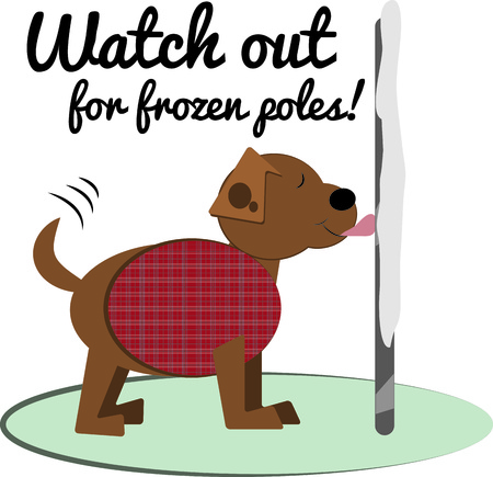 whelps: Oh no This puppy has found out his tongue really does stick to a frozen pole.  Super fun design for a doggie coat.