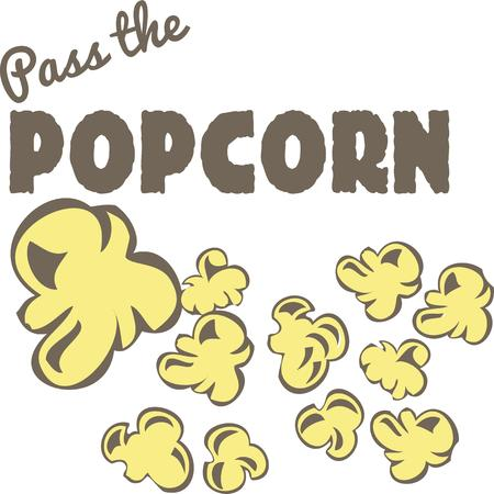 buttery: Hot buttered popcorn  a must for movie goers.  Add this buttery treat to special canisters for serving up this crunchy delight Illustration