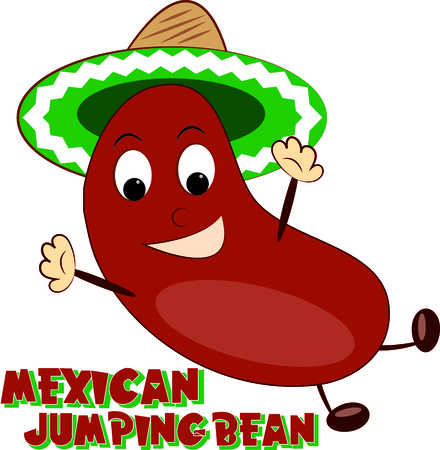 joyous: Our joyous jumping bean brings a jolly touch of Hispanic culture to your creations.  He is just perfect for travel gear or kids gear. Illustration