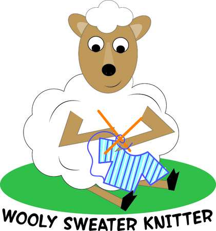 mutton: This little lamb is a model of efficiency using his own wool to knit a sweater.  What a fun decoration for a yarn basket. Illustration