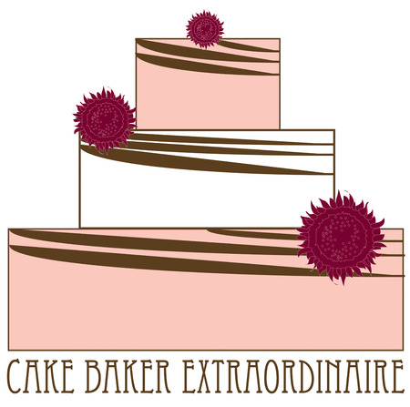 puffy: A lovely three tier cake with big puffy flowers make a lovely display.  Great to decorate aprons for pastry bakers. Illustration