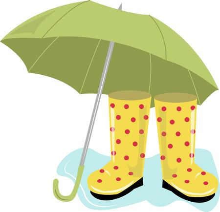 galoshes: Splash your way through Aprils showers in these stylish boots and a bright umbrella.  It is the perfect way to embellish a special raincoat or even an umbrella