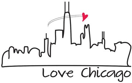 windy city: El horizonte de la ciudad ventosa en su contorno crea un impresionante visual. El tiro en un coraz�n peque�o y aqu� est� el dise�o perfecto de Chicago.