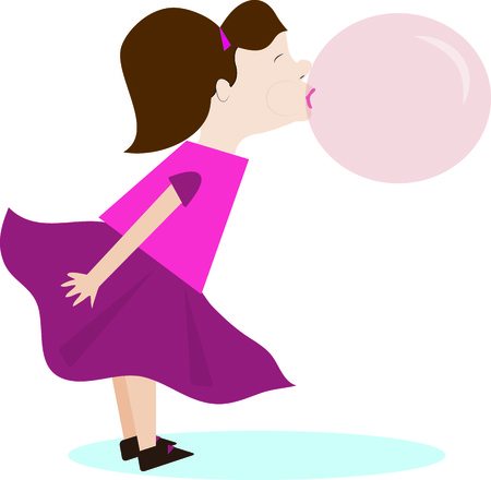 cutie: Our little cutie is the bubble blowing champ  This sweetie is a great graphic for a candy shop or a treat jar. Illustration