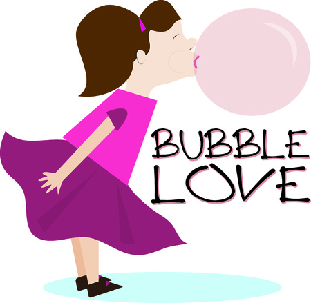 champ: Our little cutie is the bubble blowing champ  This sweetie is a great graphic for a candy shop or a treat jar. Illustration
