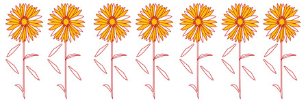turn up: A row of spring daisies line up to create the perfect edge.  Turn your towels or runners into a floral delight with these pretty blossoms. Illustration