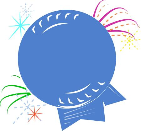 exceptional: A blue ribbon surrounded with streamers is the perfect way to award the exceptional.  Create a memorable award.  Great on hats and shirts. Illustration