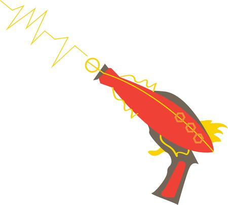 sonic: Get ready for the alien invasion with this super sonic laser gun.  Since every boy wants one why not decorate a special shirt or backpack for your special guy. Illustration