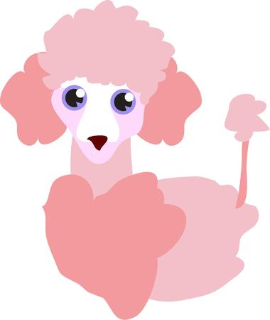 groomed: One look at this happy puppy and you just have to smile.  This pink poodle is all groomed and ready for play time.  He is a perfect decoration for both apparel and home decor.