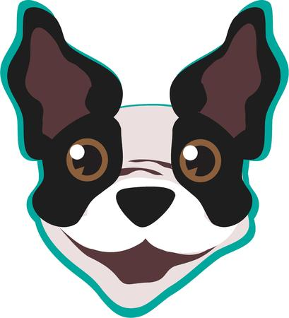 boston terrier: One look at this happy puppy and you just have to smile.  This cute terrier is all ears waiting on your command.  He is a perfect decoration for both apparel and home dcor.