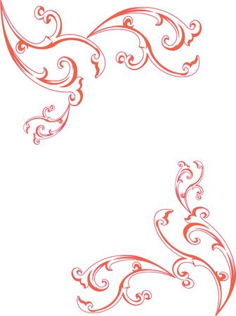 fingertip: The vintage feel of this swirl and curl border lend an air of elegance.  This lovely adornment is perfect for scarves or fingertip towels. Illustration