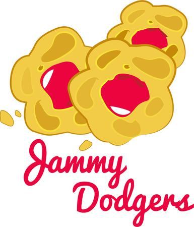 shortbread: These Jammie Dodgers are a popular British biscuit made from shortbread with a raspberry flavored jam filling.  They make a great snack for the kids or add this design to a fun tea towel