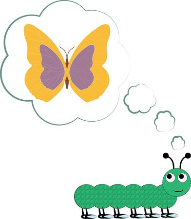 metamorphosis: This cute caterpillar is dreaming big.  He is planning for the day he becomes a lovely butterfly.  Perfect design for an encouraging message.