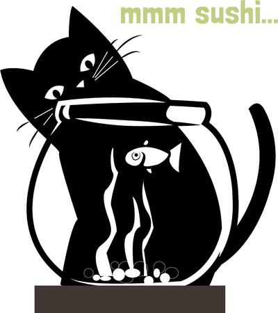 seem: This kitty seems to be considering a fishing expedition  The stark black and white contrasts seem to make the design jump off your projects.  Perfect for screen printing or embroidery