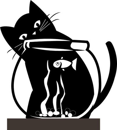 contrasts: This kitty seems to be considering a fishing expedition  The stark black and white contrasts seem to make the design jump off your projects.  Perfect for screen printing or embroidery