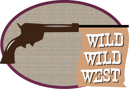 buckaroo: Our pistol is a toy that says bang with a message flag.  Create something super fun for your wild west extravaganza Illustration