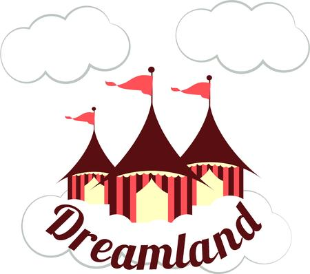 big top: These circus has come to town with its beautiful tents.  Flags flying in the clouds are sure to attract attention and make your creations extra memorable.  Love it on kid gear