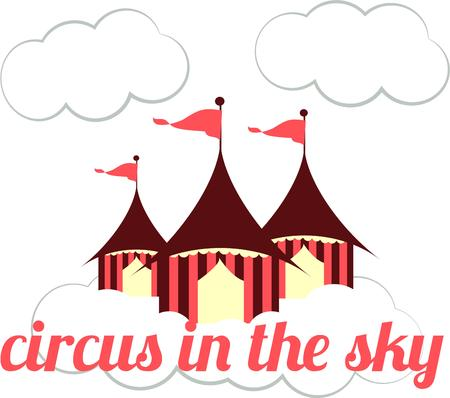 memorable: These circus has come to town with its beautiful tents.  Flags flying in the clouds are sure to attract attention and make your creations extra memorable.  Love it on kid gear