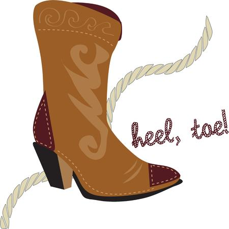riding boot: Get ready for some boot scootin with these stylin cowgirl boots.  Perfect accent for Western wear and gear Illustration