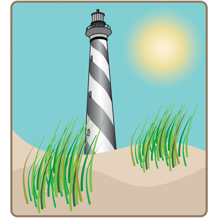 decorative items: This classically beautiful lighthouse is a great addition to any lighthouse collection.  Use it on decorative items or apparel.  Sure to make an instant favorite. Illustration