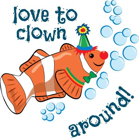 clown fish: Bring a clown to your next party with this hat wearing clown fish.  This colorful clown brings his brand of fun to your clothing creations.