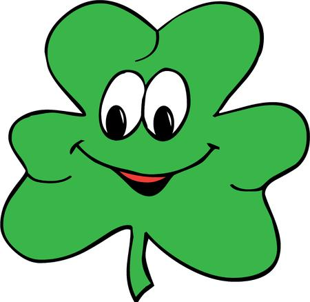 green smiley face: Get your Irish on with this happy clover.  This happy clover brings his unique charm to your apparel projects.