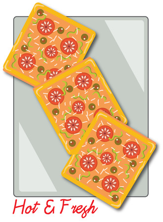 delightful: Pizza cut into squares makes a delightful snack  This pizza design makes an equally delightful way to decorate a chefs apron Illustration