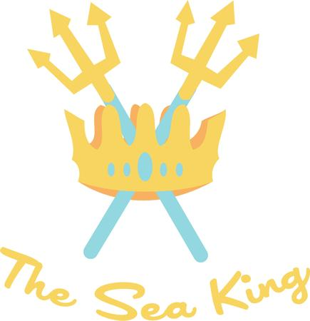 scepter: The crown and scepter is symbolic of the royalty of the sea.  Perfect for any nautical project.