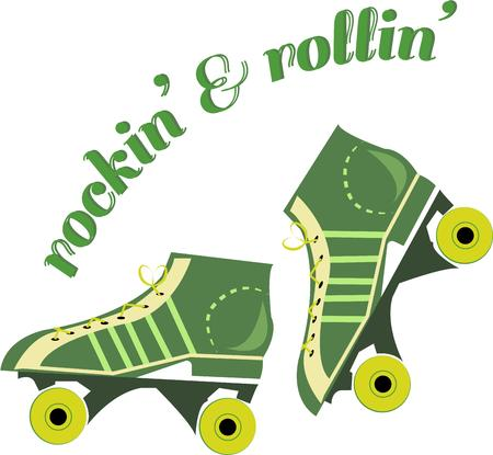 inline skate: Get your exercise in with these rockin green roller skates.  These skates are a great element of a fun roller rink shirt.