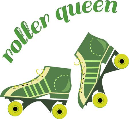 inline: Get your exercise in with these rockin green roller skates.  These skates are a great element of a fun roller rink shirt.