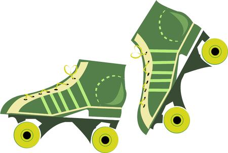 rollerskate: Get your exercise in with these rockin green roller skates.  These skates are a great element of a fun roller rink shirt.