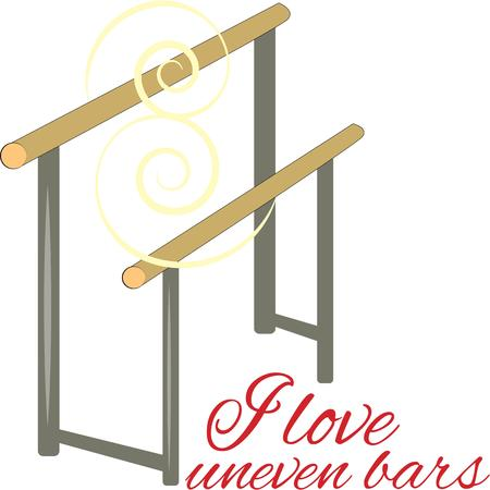 uneven: Uneven bars is a womens artistic gymnastics event Dress up a bag or leotard for your favorite gymnast with this design.