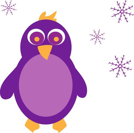 seabird: Chill out with this penguin in purple.  Surrounded by snowflakes this bright penguin adds unique flair wherever you use him.