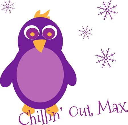 out of use: Chill out with this penguin in purple.  Surrounded by snowflakes this bright penguin adds unique flair wherever you use him.