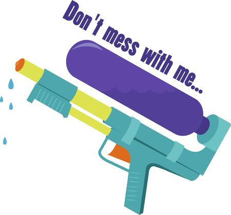 drench: Drench your playmates with this toy water gun.  Sure fire summer fun for your designs. Illustration