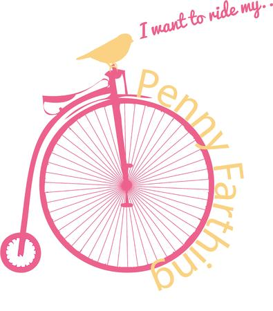 penny: Look close and find this feathered friend perched for a ride on this classic penny farthing.  Add this big wheel to your cycling gear for a nostalgic touch. Illustration