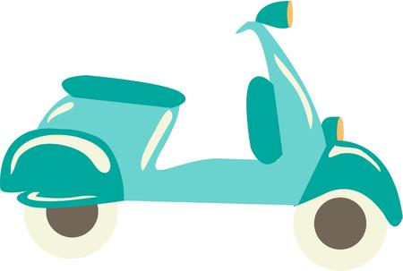 illustration isolated: Scooter illustration  isolated in white