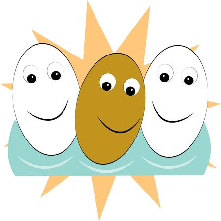 greet: Three smiling happy eggs help you greet the morning as only they can. Perfect design to add some smiles to your kitchen Illustration