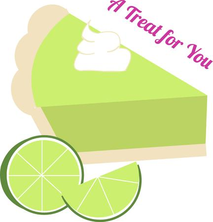 florida citrus: A cool key lime pie is the perfect way to end a special summertime meal.  We love this treat as a decoration for kitchen gear.  Yummy Illustration