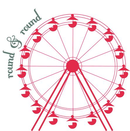 instincts: Send your creative instincts soaring with this classic ferris wheel design.  The one color and simple line elements make it an eye catching add to apparel or bags.