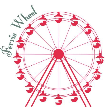 eye catching: Send your creative instincts soaring with this classic ferris wheel design.  The one color and simple line elements make it an eye catching add to apparel or bags.