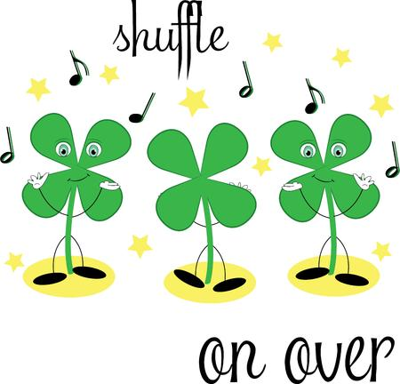 st pattys day: Dancing shamrocks convey the fun and light hearted spirit of the Irish.  These dancing shamrocks bring Irish charm to St. Pattys Day creations. Illustration