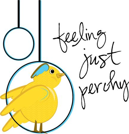 aviary: A pretty canary adds a sweet charm to your creations.  Especially cute on kids wear and baby gear. Illustration