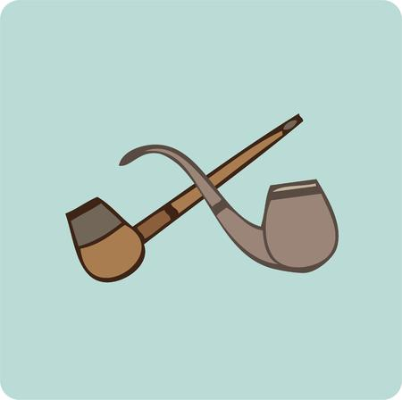 treasured: Crossed pipes are a fitting way to designate a smoking area or decorate a box containing a treasured pipe.  The blue background makes this design pop.