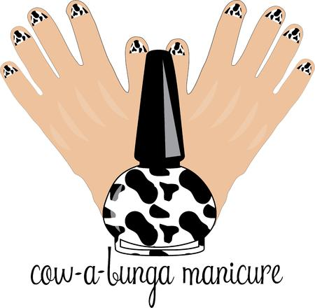 fingernail: Have the best and most unique manicure at the party.  Heres an amusing manicure for cow lovers and party goers everywhere