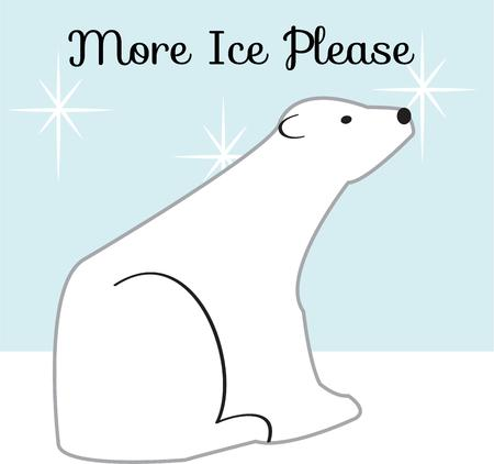 though: This sweet baby polar bear generates a warm smile even though he sits in snow.  This baby makes a cute decoration for your baby gear. Illustration