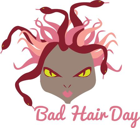 bad hair day: Medusa is here to demonstrate what a bad hair day is all about  This design is such fun for salon aprons or graphics.  Completely out of the ordinary