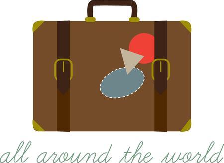 reiste: Packen Sie Ihre Koffer und machen Sie sich bereit f�r ein Abenteuer. Diese weit gereist Tasche ist die perfekte Dekoration f�r Hemden oder Jacken f�r ein Reiseb�ro.