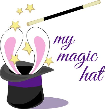 happening: Magic is happening here with cute bunny ears appearing from the magicians hat.  Add this touch of magic to shirts jackets or kids room dcor.